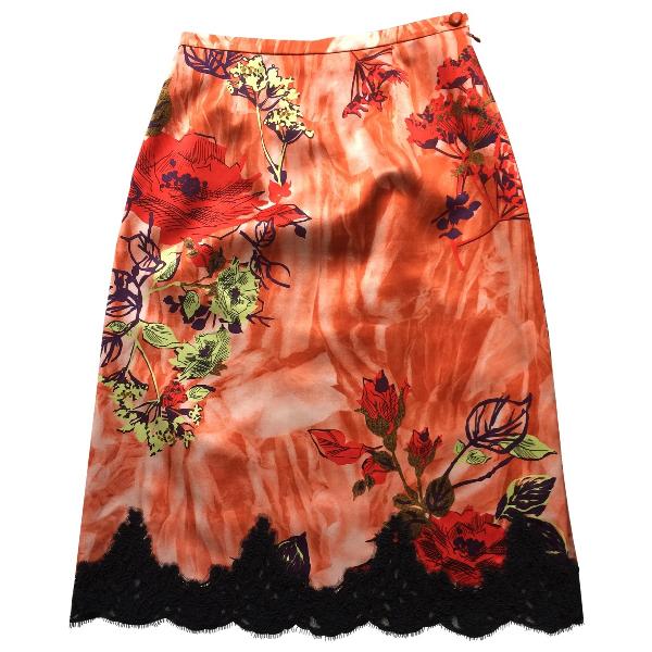 Christian Lacroix Orange Silk Skirt