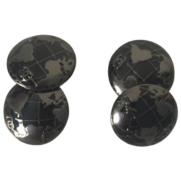 Chanel Black Metal Cufflinks