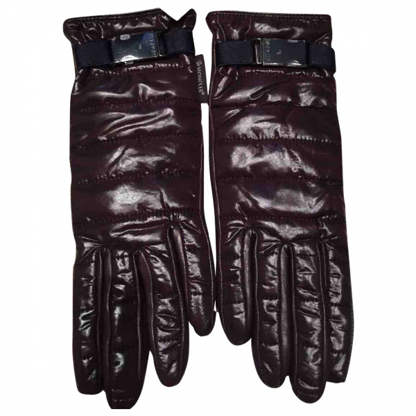 Moncler Brown Leather Gloves