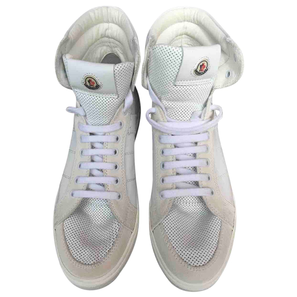 Moncler White Leather Trainers