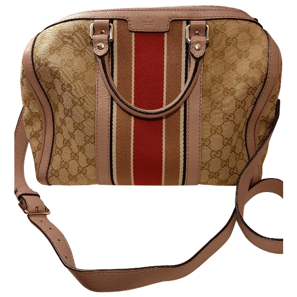 Gucci Boston Beige Cotton Handbag