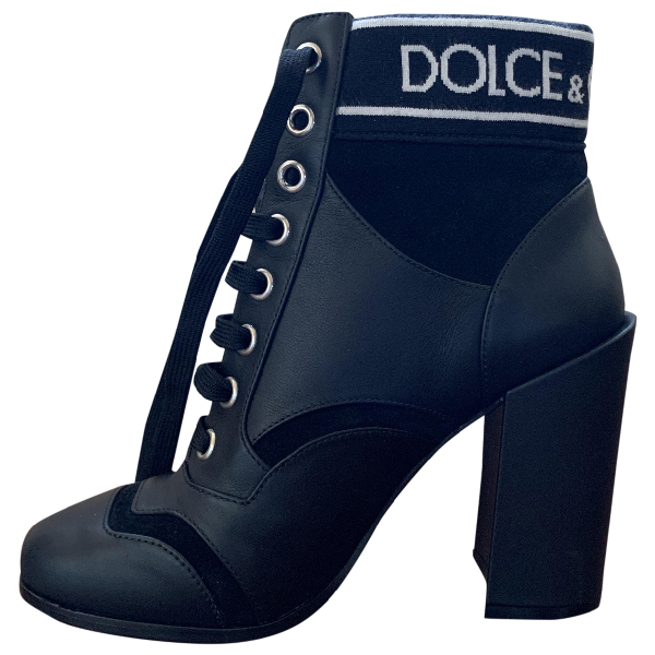 Dolce & Gabbana Black Leather Ankle Boots