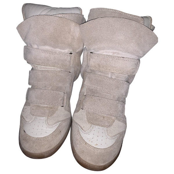 Isabel Marant Willow Beige Leather Trainers