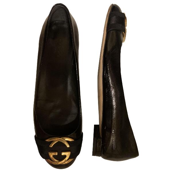 Gucci Black Patent Leather Ballet Flats