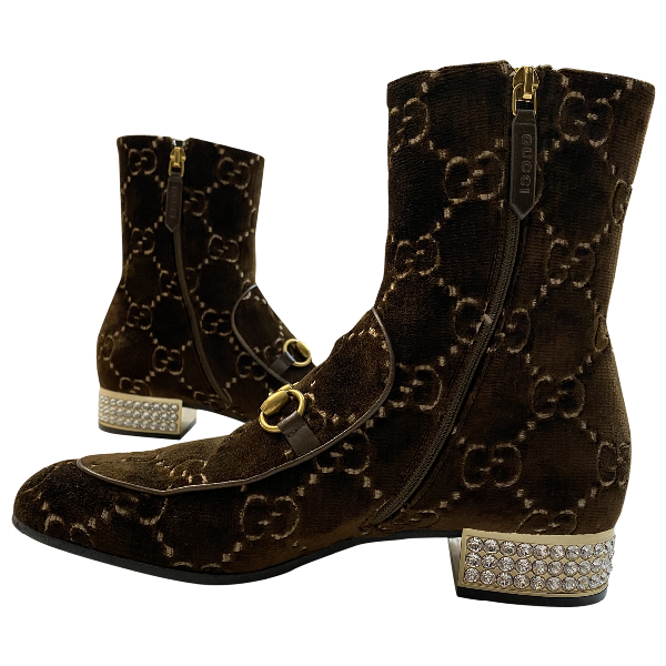 Gucci Brown Velvet Ankle Boots