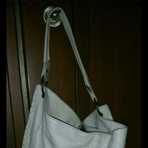 Bottega Veneta White Leather Handbag