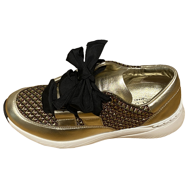 Casadei Gold Leather Trainers