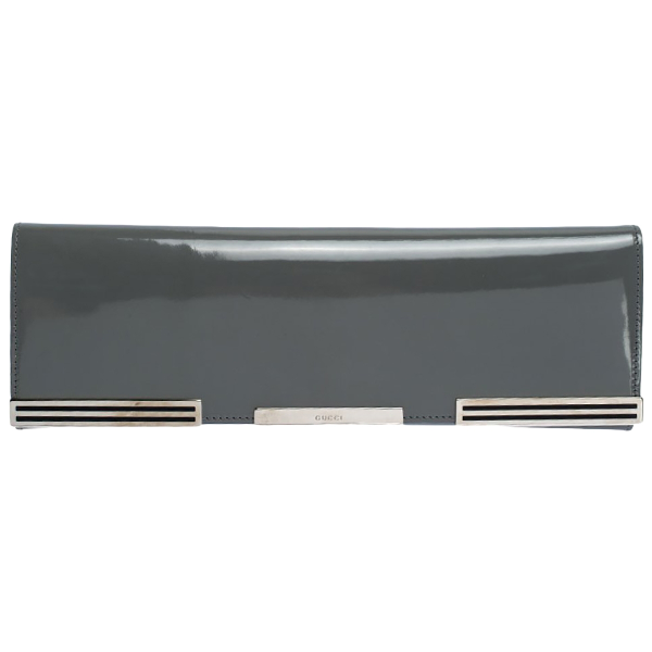 Gucci Grey Patent Leather Clutch Bag