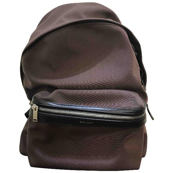 Saint Laurent City Backpack Burgundy Cloth Bag