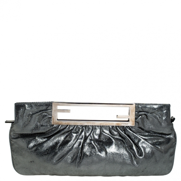 Fendi Metallic Cloth Clutch Bag