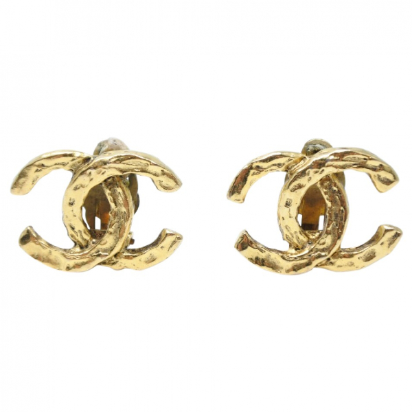 Chanel Cc Gold Metal Earrings