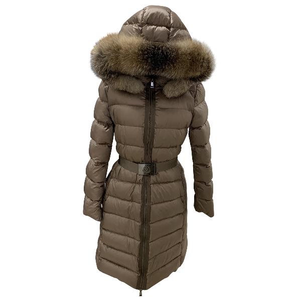 Moncler Fur Hood Beige Coat