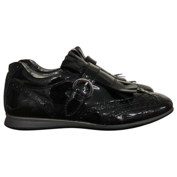 Hogan Black Patent Leather Lace Ups