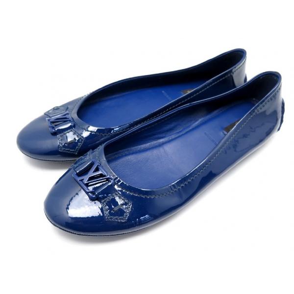 Louis Vuitton Blue Patent Leather Ballet Flats