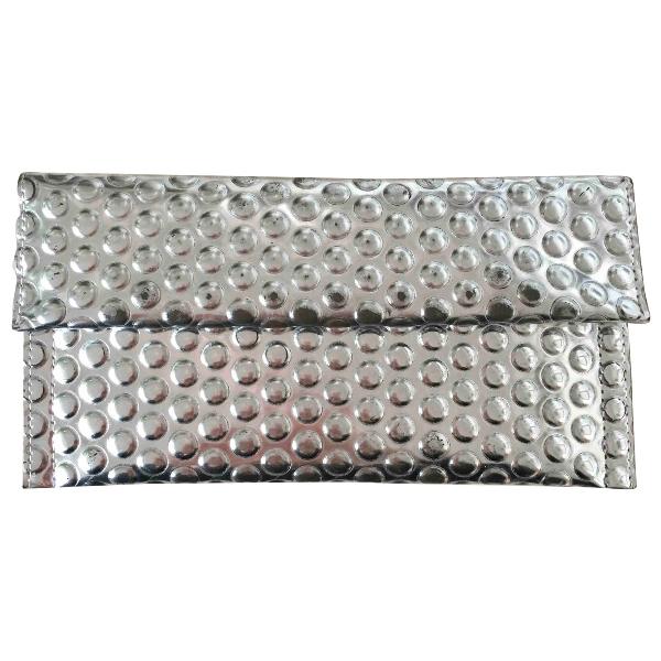 Mm6 Maison Margiela Silver Patent Leather Clutch Bag