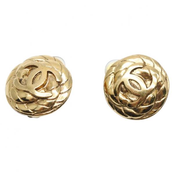 Chanel Cc Gold Metal Earrings