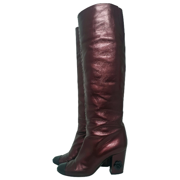 Chanel Purple Leather Boots