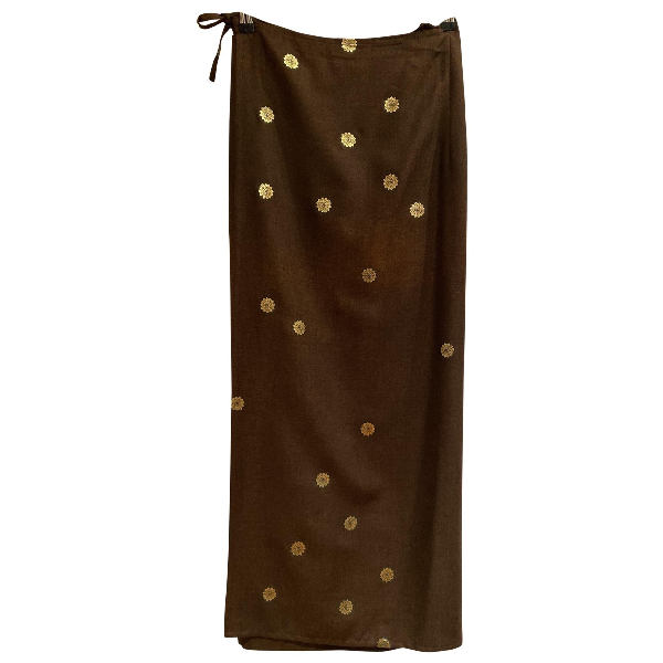 Dries Van Noten Brown Wool Skirt