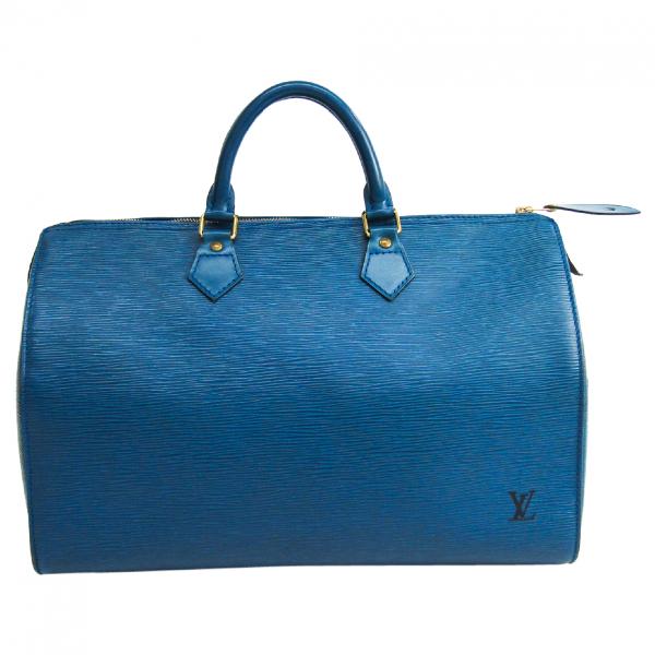 Louis Vuitton Speedy Blue Leather Handbag
