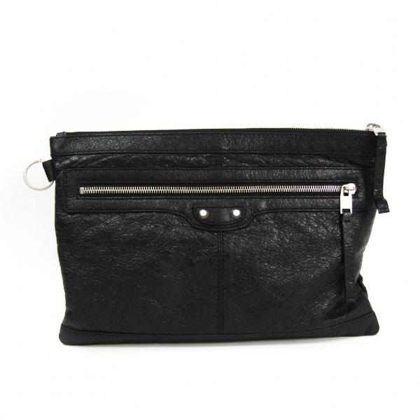 Balenciaga Black Leather Clutch Bag