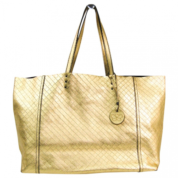 Bottega Veneta Gold Leather Handbag