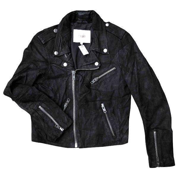 Maje Black Suede Leather Jacket