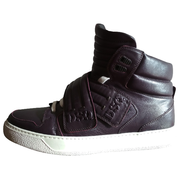 Dsquared2 Purple Leather Trainers