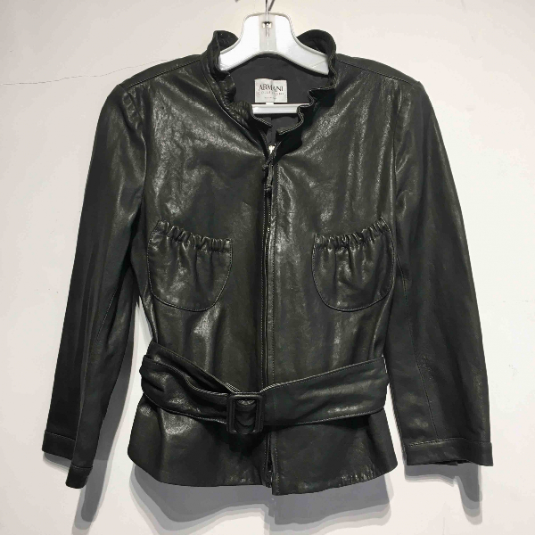 Armani Collezioni Green Leather Leather Jacket