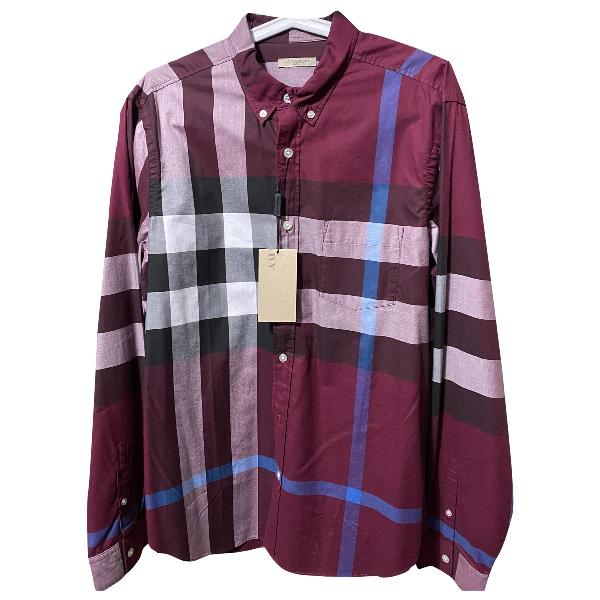Burberry Burgundy Cotton Shirts