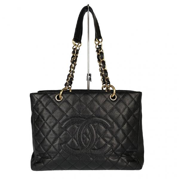 Chanel Petite Shopping Tote Black Leather Handbag