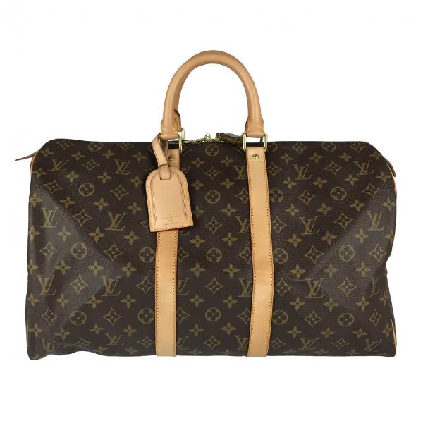 Louis Vuitton Keepall Brown Cloth Travel Bag