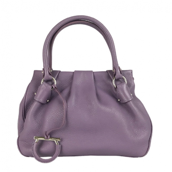 Salvatore Ferragamo Purple Leather Handbag