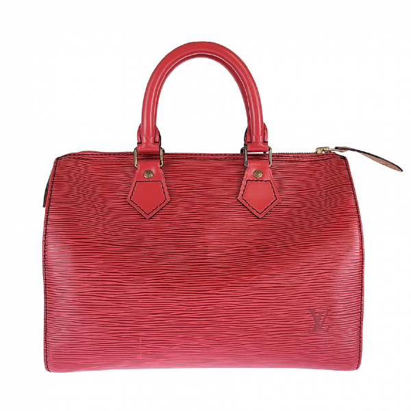 Louis Vuitton Speedy Red Leather Handbag