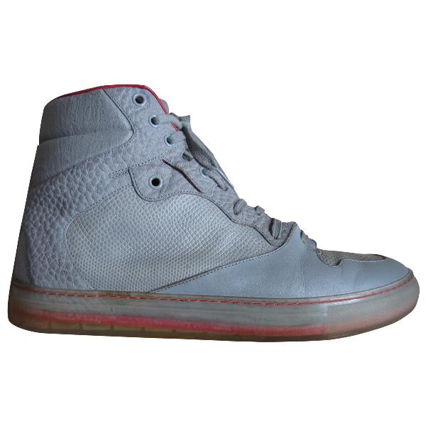 Balenciaga Grey Leather Trainers