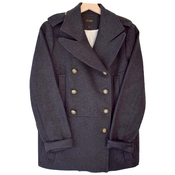 Maje Anthracite Wool Coat
