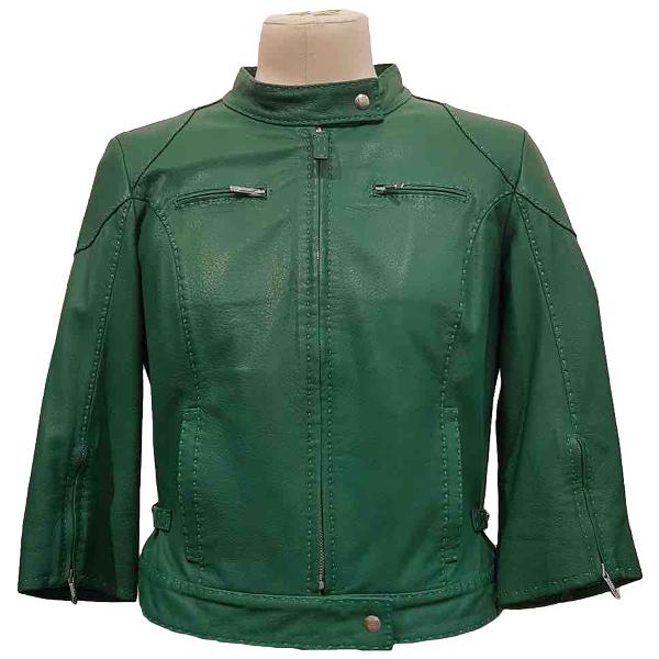 Fendi Green Leather Leather Jacket