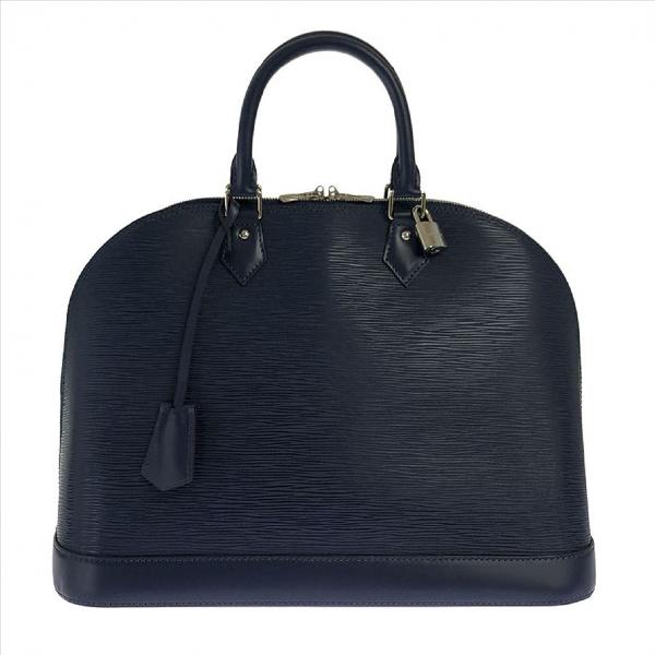 Louis Vuitton Alma Navy Leather Handbag