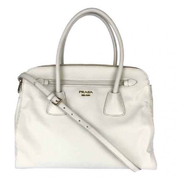 Prada Saffiano  White Leather Handbag