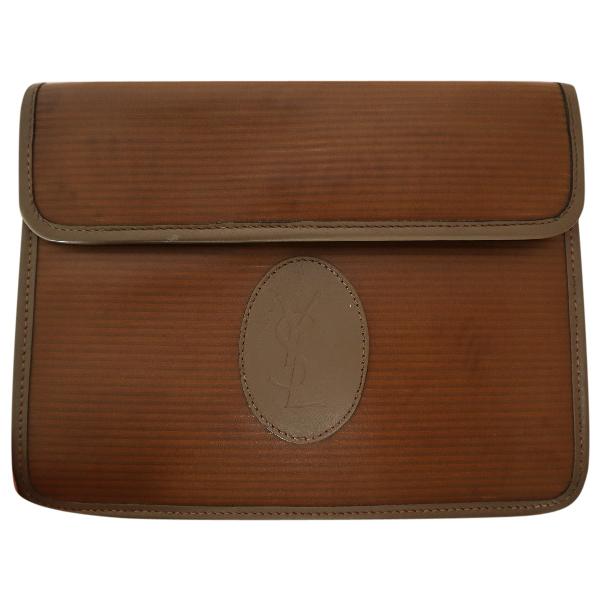 Saint Laurent Brown Cloth Clutch Bag
