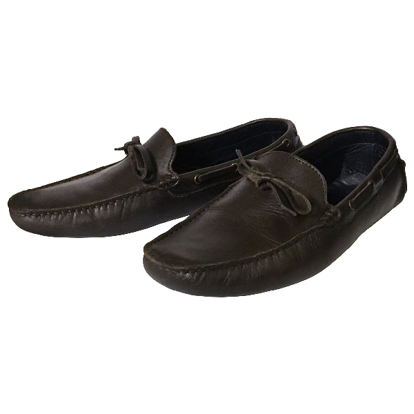 Rochas Brown Leather Flats