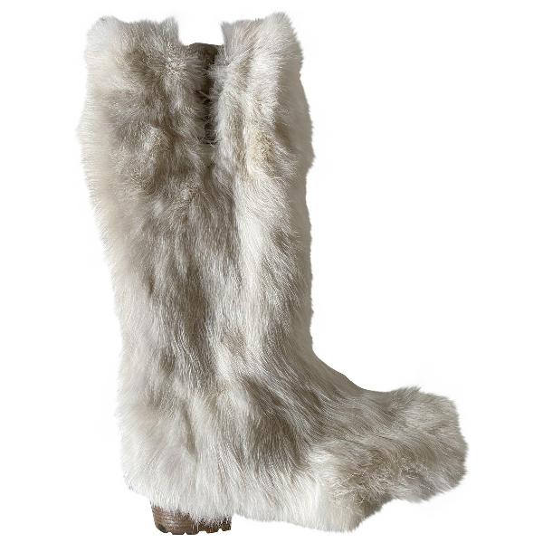 Jimmy Choo Ecru Rabbit Boots