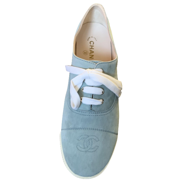 Chanel Turquoise Suede Trainers
