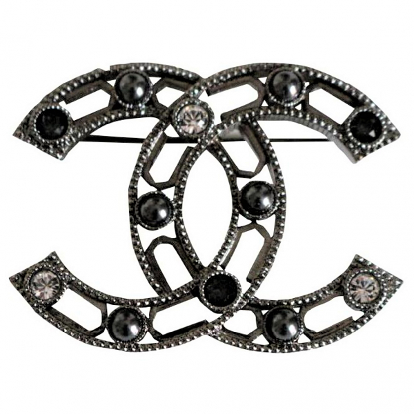 Chanel Cc Anthracite Metal Pins & Brooches