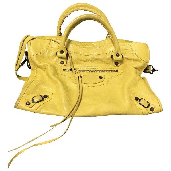 Balenciaga City Yellow Leather Handbag