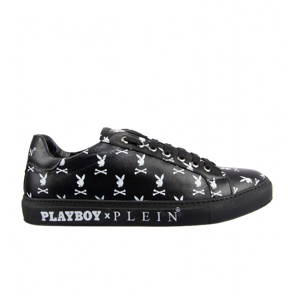 Philipp Plein Black Leather Trainers