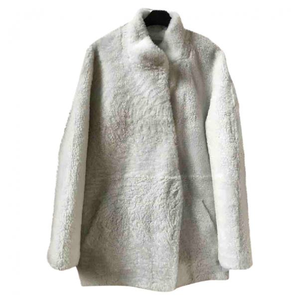 Sprung FrÈres White Shearling Coat