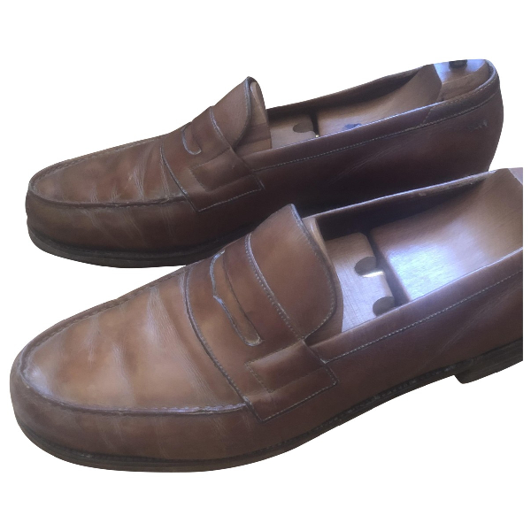Jm Weston Brown Leather Flats