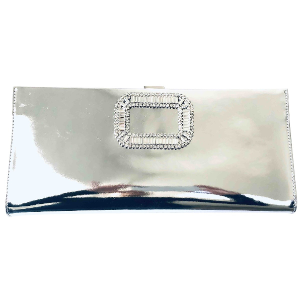 Roger Vivier Silver Patent Leather Clutch Bag
