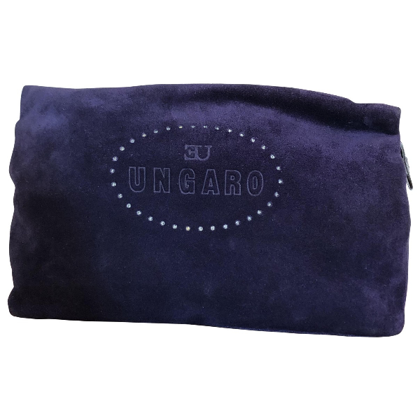 Emanuel Ungaro Purple Suede Clutch Bag