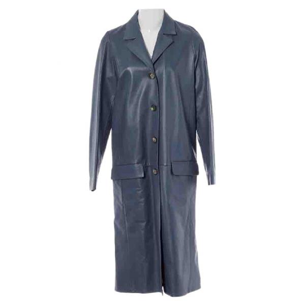 Celine Blue Leather Coat